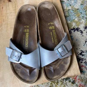 Birkenstock Madrid silver gray slip on sandals 40